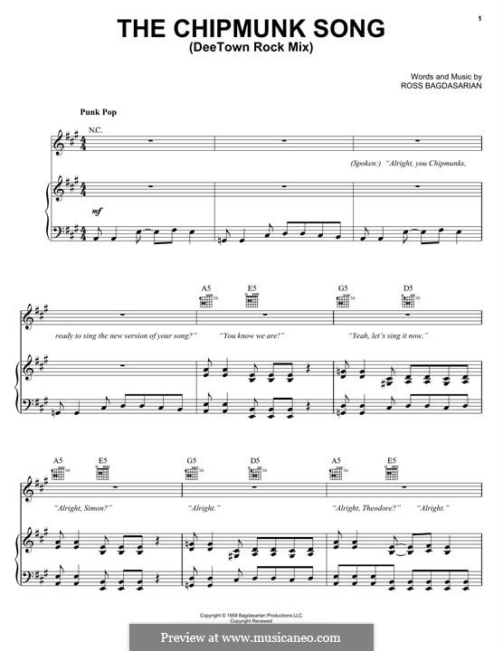 The Chipmunk Song (Alvin and the Chipmunks): Para vocais e piano (ou Guitarra) by Ross Bagdasarian