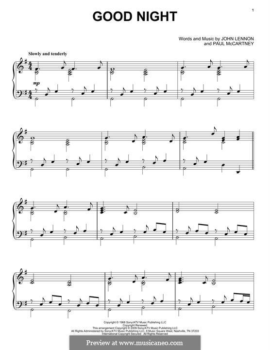 Goodnight (The Beatles): Para Piano by John Lennon, Paul McCartney