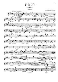 Trio for Violin, Viola (or Cello) and Piano, Op.46: parte do violino by Julius Zellner