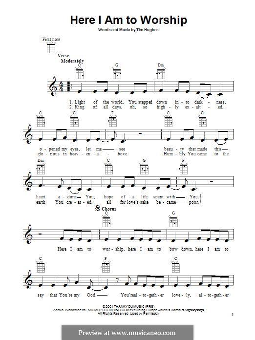 Here I am to Worship (Phillips, Craig & Dean): para ukulele by Tim Hughes