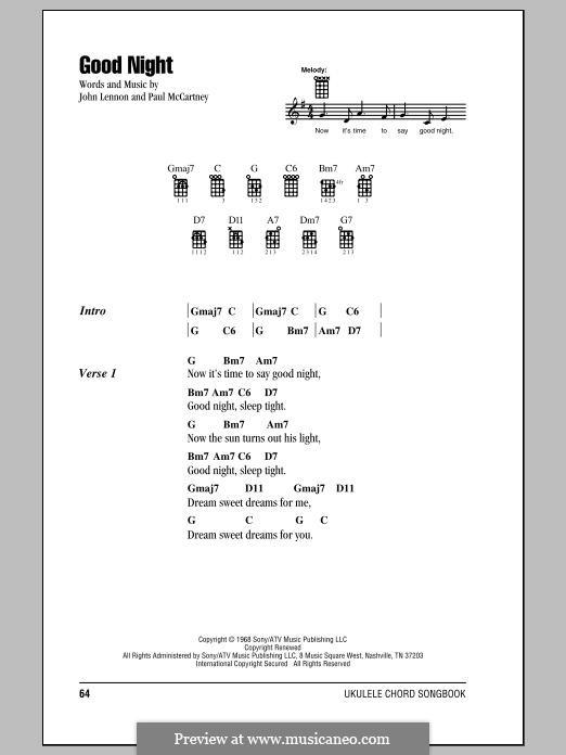 Goodnight (The Beatles): para ukulele by John Lennon, Paul McCartney