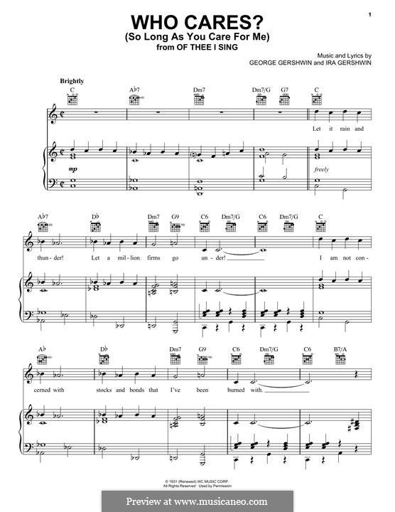 Who Cares? (So Long as You Care for Me): Para vocais e piano (ou Guitarra) by George Gershwin