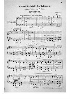 Rienzi, the Last of the Tribunes, WWV 49: Overture, para piano by Richard Wagner