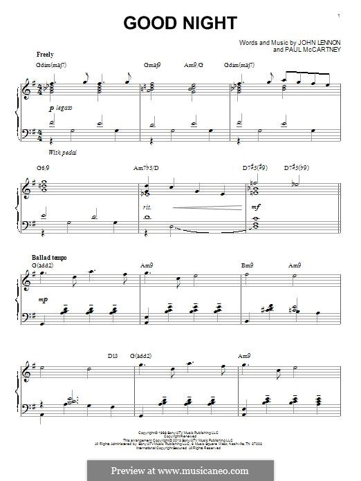 Goodnight (The Beatles): For piano (jazz version) by John Lennon, Paul McCartney