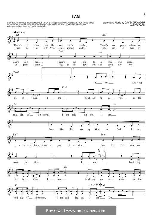 I Am (Crowder): Para Guitarra by Ed Cash, David Crowder
