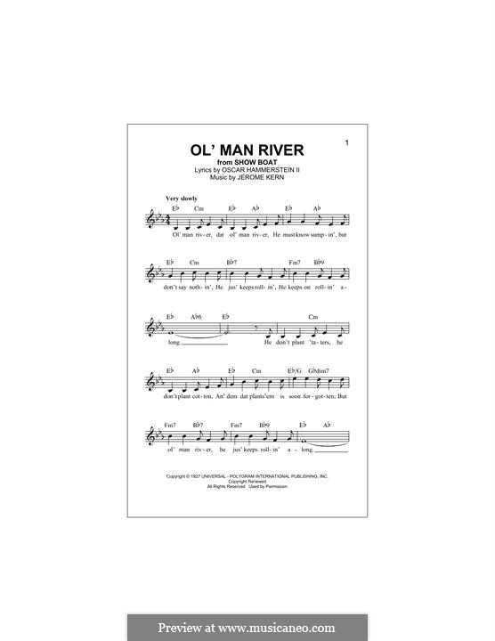 Ol' Man River (from Show Boat): para teclado by Jerome Kern