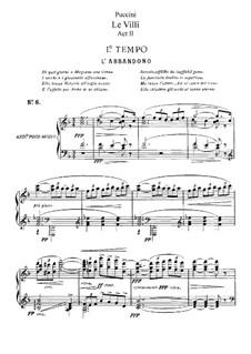 Le Villi (The Willis or The Fairies): ato II, para solista,coral e piano by Giacomo Puccini
