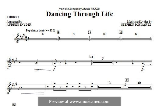 Dancing Through Life (from Wicked): F Horn 1 part by Stephen Schwartz