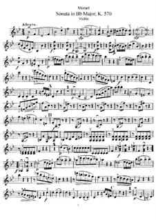 Sonata for Piano No.17 in B Flat Major, K.570: arranjo para violino e piano - parte solo by Wolfgang Amadeus Mozart