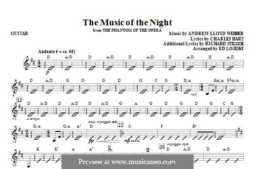 The Music of the Night: parte Guitarra by Andrew Lloyd Webber