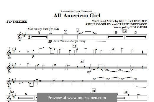All-American Girl (Carrie Underwood): Synthesizer part by Ashley Gorley, Kelley Lovelace