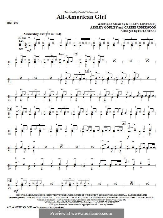 All-American Girl (Carrie Underwood): Drums part by Ashley Gorley, Kelley Lovelace