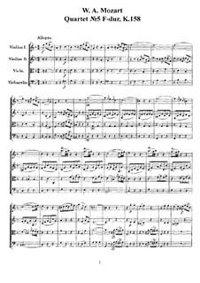 String Quartet No.5 in F Major, K.158: partituras completas, partes by Wolfgang Amadeus Mozart