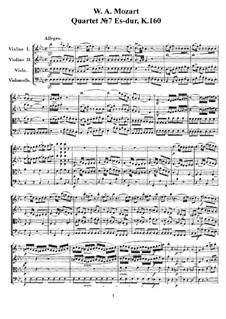 String Quartet No.7 in E Flat Major, K.160: partituras completas, partes by Wolfgang Amadeus Mozart
