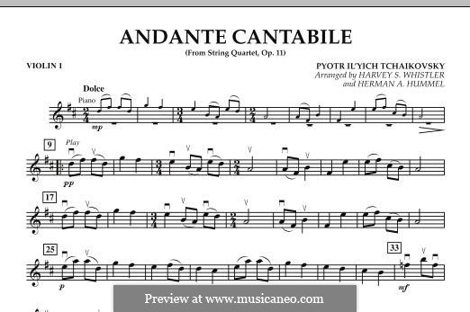 String Quartet No.1 in D Major, TH 111 Op.11: Andante Cantabile, for string orchestra – Violin 1 part by Pyotr Tchaikovsky