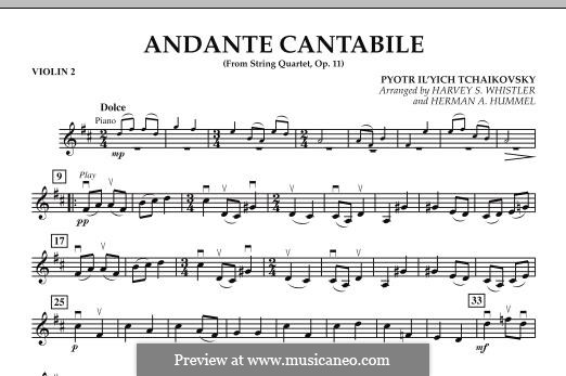 String Quartet No.1 in D Major, TH 111 Op.11: Andante Cantabile, for string orchestra – Violin 2 part by Pyotr Tchaikovsky