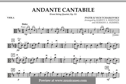 String Quartet No.1 in D Major, TH 111 Op.11: Andante Cantabile, for string orchestra – Viola part by Pyotr Tchaikovsky