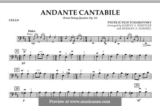 String Quartet No.1 in D Major, TH 111 Op.11: Andante Cantabile, for string orchestra – Cello part by Pyotr Tchaikovsky