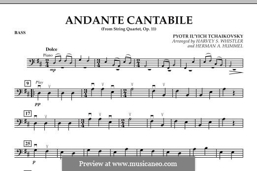 String Quartet No.1 in D Major, TH 111 Op.11: Andante Cantabile, for string orchestra – Bass part by Pyotr Tchaikovsky