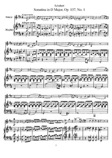 Sonatina for Violin and Piano No.1 in D Major, D.384 Op.137: partitura by Franz Schubert