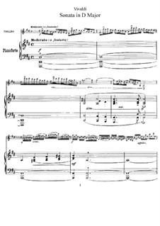 Sonata for Violin and Basso Continuo in D Major: partitura by Antonio Vivaldi