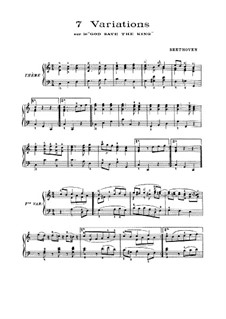 Seven Variations on English Song 'God Save the King', WoO 78: Para Piano by Ludwig van Beethoven