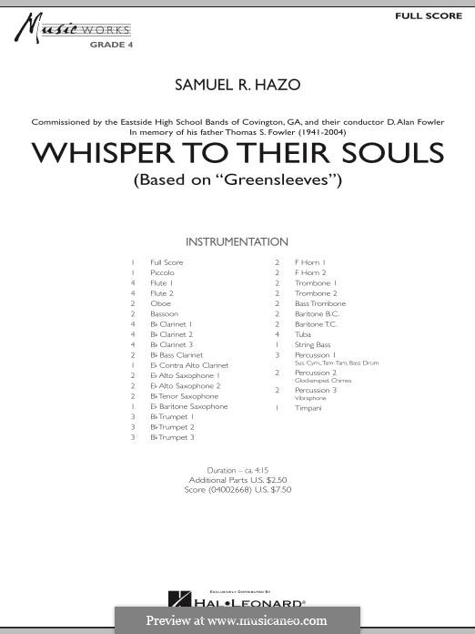 Whisper to Their Souls (based on 'Greensleeves'): partitura completa by Samuel R. Hazo