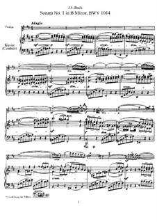 Six Sonatas for Violin and Keyboard, BWV 1014-1019: Score, Parte de solo by Johann Sebastian Bach