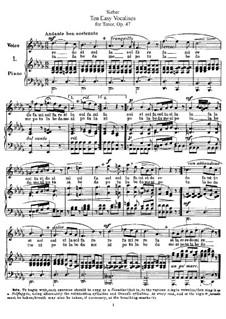 Ten Easy Vocalises for Tenor, Op.47: Ten Easy Vocalises for Tenor by Ferdinand Sieber