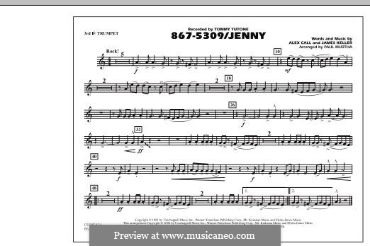 867-5309/Jenny (Tommy Tutone): 3rd Bb Trumpet part by Alex Call, James Keller
