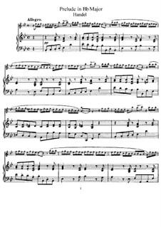 Prelude in B Flat Major: para flauta e piano by Georg Friedrich Händel