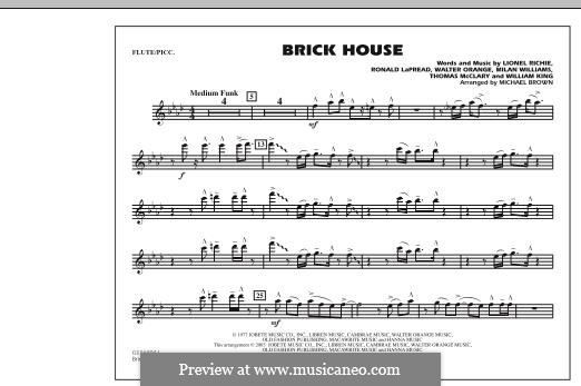 Brick House (The Commodores): Flute/Piccolo part by Lionel Richie, Milan Williams, Ronald LaPread, Thomas McClary, Walter Orange, William King