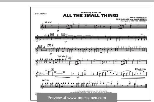 All the Small Things (arr. Michael Sweeney): Bb Clarinet part by Mark Hoppus, Tom DeLonge