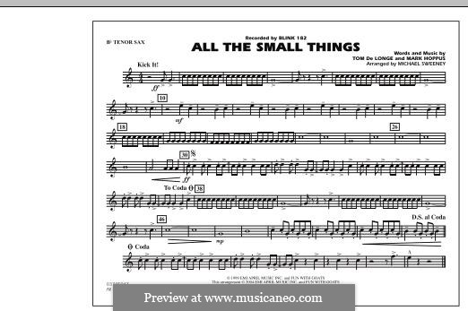 All the Small Things (arr. Michael Sweeney): Bb Tenor Sax part by Mark Hoppus, Tom DeLonge