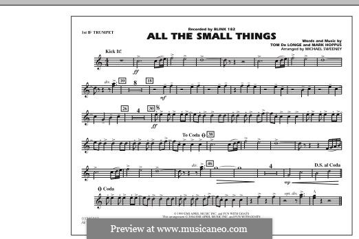All the Small Things (arr. Michael Sweeney): 1st Bb Trumpet part by Mark Hoppus, Tom DeLonge
