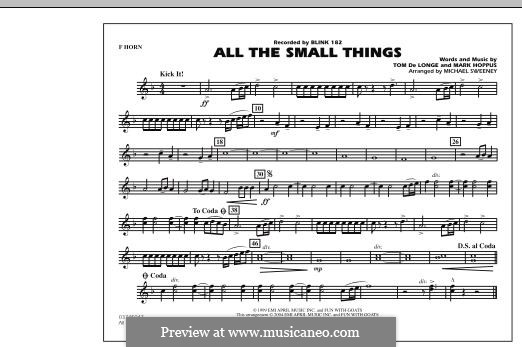 All the Small Things (arr. Michael Sweeney): F Horn part by Mark Hoppus, Tom DeLonge