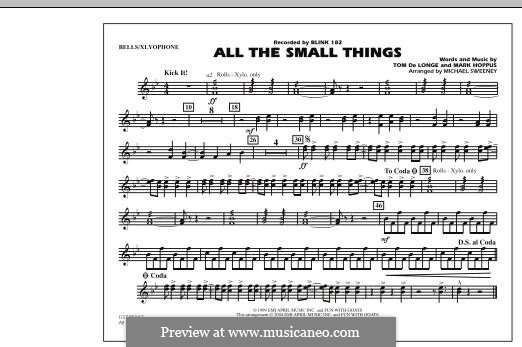 All the Small Things (arr. Michael Sweeney): Bells/Xylophone part by Mark Hoppus, Tom DeLonge