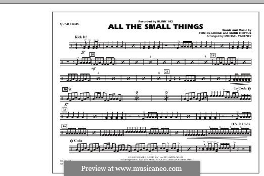 All the Small Things (arr. Michael Sweeney): Quad Toms part by Mark Hoppus, Tom DeLonge