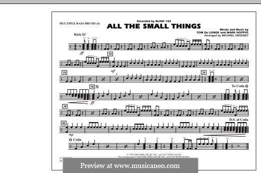 All the Small Things (arr. Michael Sweeney): Multiple Bass Drums part by Mark Hoppus, Tom DeLonge