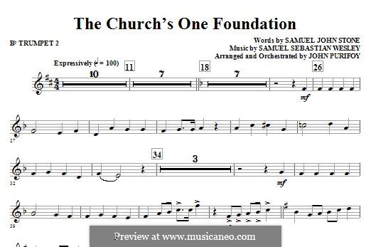 The Church's One Foundation: Bb Trumpet 2 part by Samuel Sebastian Wesley