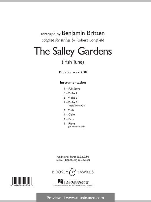 Down By the Sally Gardens: For strings – Full Score by folklore