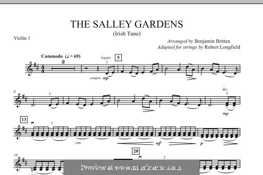 Down By the Sally Gardens: For strings – Violin 1 part by folklore
