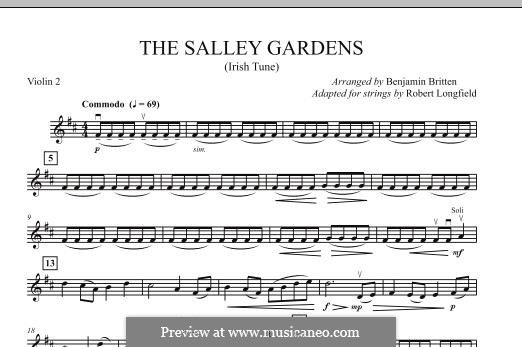 Down By the Sally Gardens: For strings – Violin 2 part by folklore