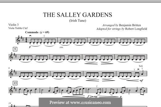 Down By the Sally Gardens: For strings – Violin 3 (Viola Treble Clef) part by folklore