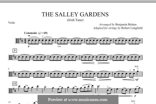 Down By the Sally Gardens: For strings – Viola part by folklore