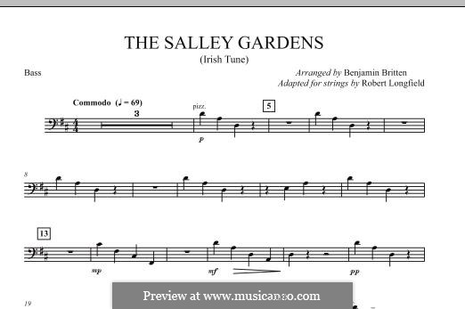 Down By the Sally Gardens: For strings – Bass part by folklore