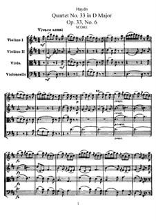 String Quartet No.33 in D Major, Hob.III/42 Op.33 No.6: Partitura completa, Partes by Joseph Haydn