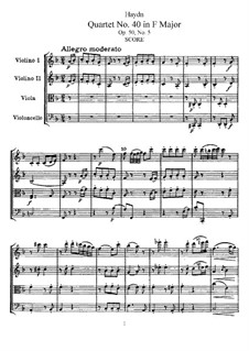 String Quartet No.40 in F Major, Hob.III/48 Op.50 No.5: Partitura completa, Partes by Joseph Haydn