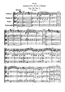 String Quartet No.42 in C Major, Hob.III/57 Op.54 No.2: Partitura completa, Partes by Joseph Haydn