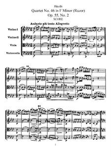 String Quartet No.46 in F Minor 'Razor', Hob.III/61 Op.55 No.2: Partitura completa, Partes by Joseph Haydn